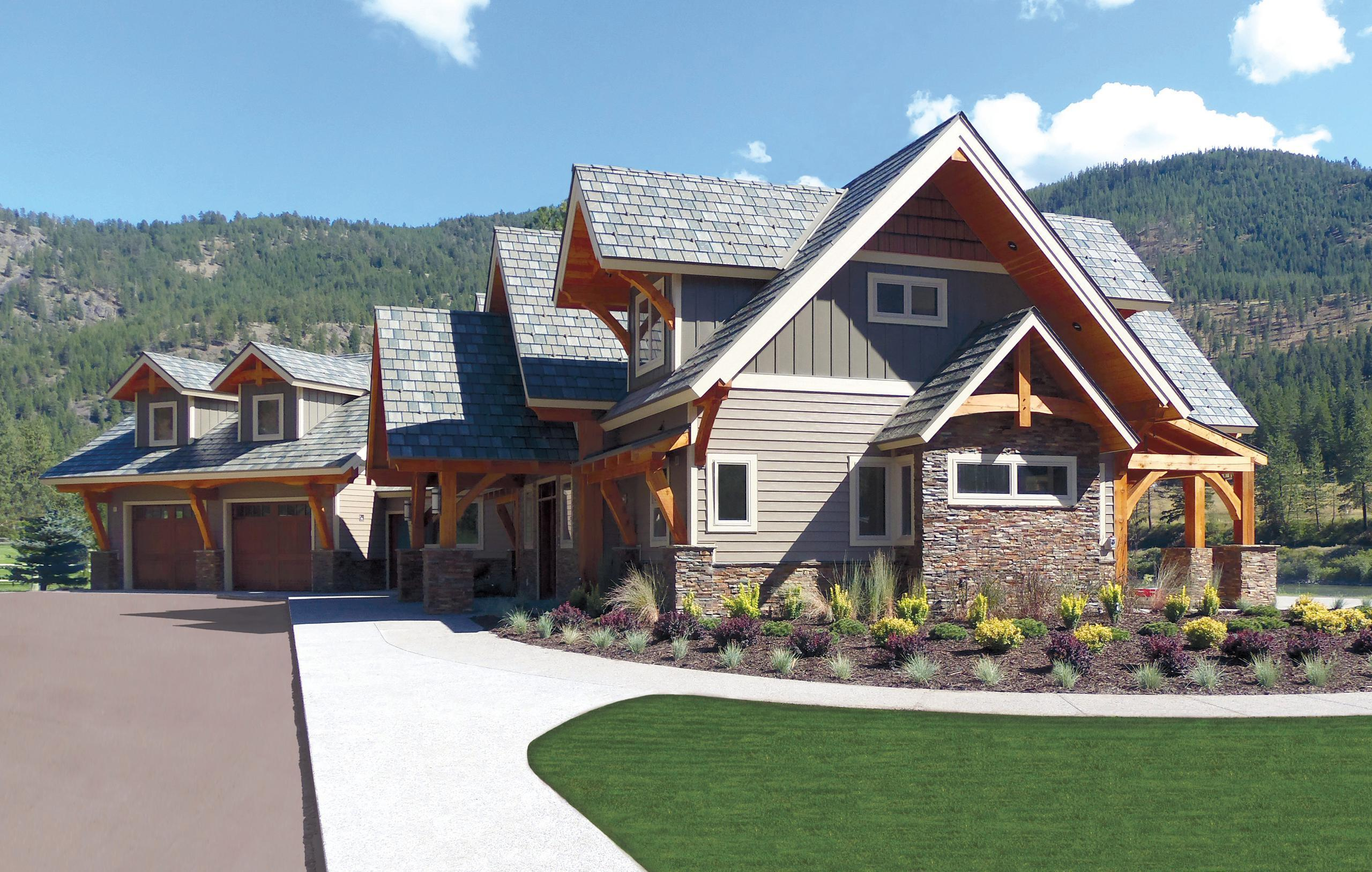 """Located in the mountains of Montana, this home showcases the beauty of EDCO's teel Arrowline Slate Roofing in T-Tone Blend, Vertical 12"""" Board and Batten in T-Tone and Single 6"""" Traditional Lap Siding. EDCO's color-coordinated products, from top to bottom, offer homeowners and professionals versatility when it comes to designing a stunning home"""