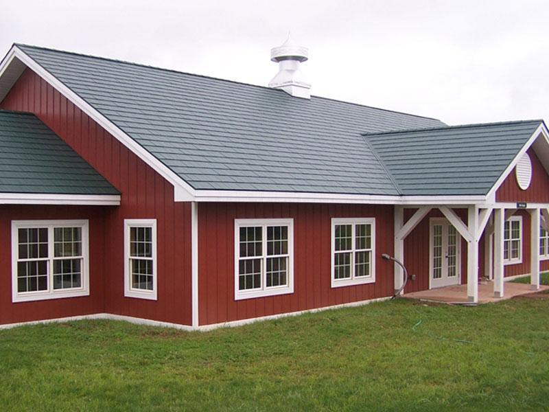 EDCO's classic steel siding giving a red board and batten look.