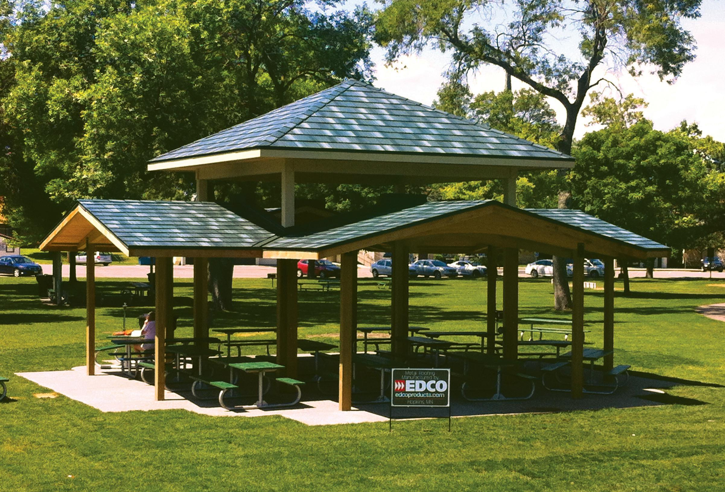 A beautiful park in the Twin Cities installed EDCO Arrowline Shake Enhanced Hartford Green Blend Roofing on their picnic shelters because of its durability to withstand the most extreme weather conditions.