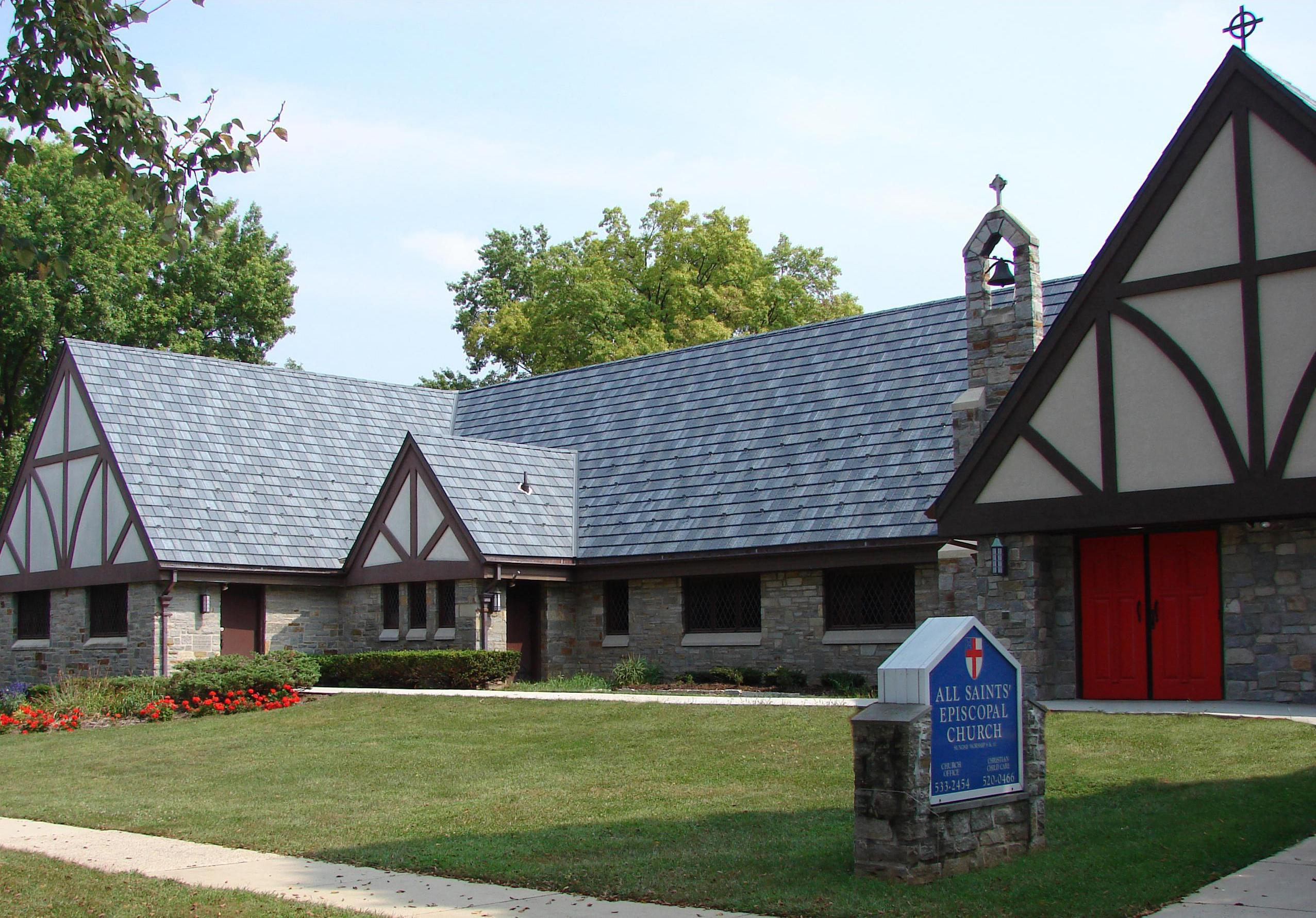 Arrowline Slate Stone Blend was installed on this church to compliment the stone architecture around the building.