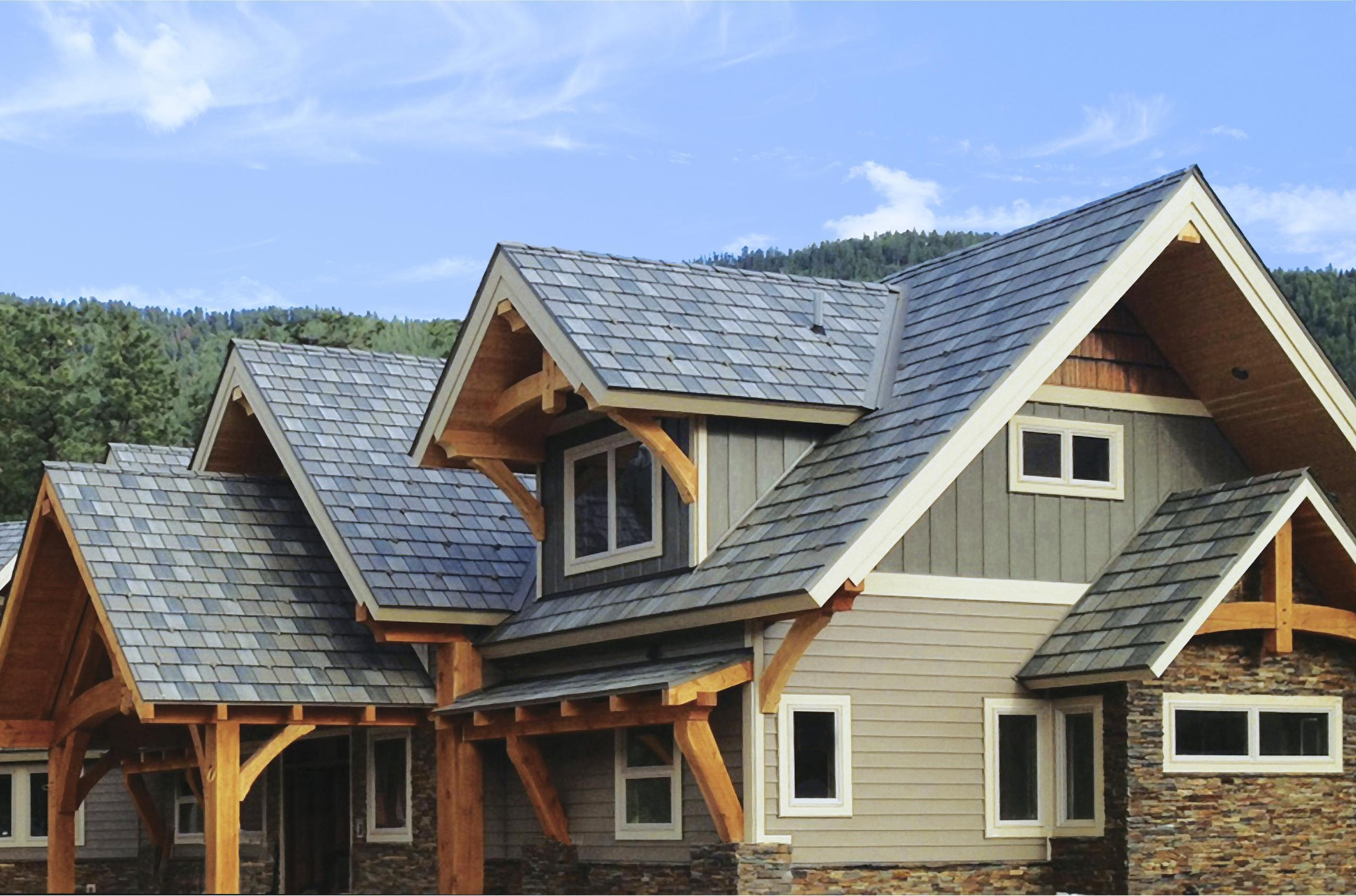 "Located in the mountains of Montana, this home showcases the beauty of EDCO's teel Arrowline Slate Roofing in T-Tone Blend, Vertical 12"" Board and Batten in T-Tone and Single 6"" Traditional Lap Siding. EDCO's color-coordinated products, from top to bottom, offer homeowners and professionals versatility when it comes to designing a stunning home."