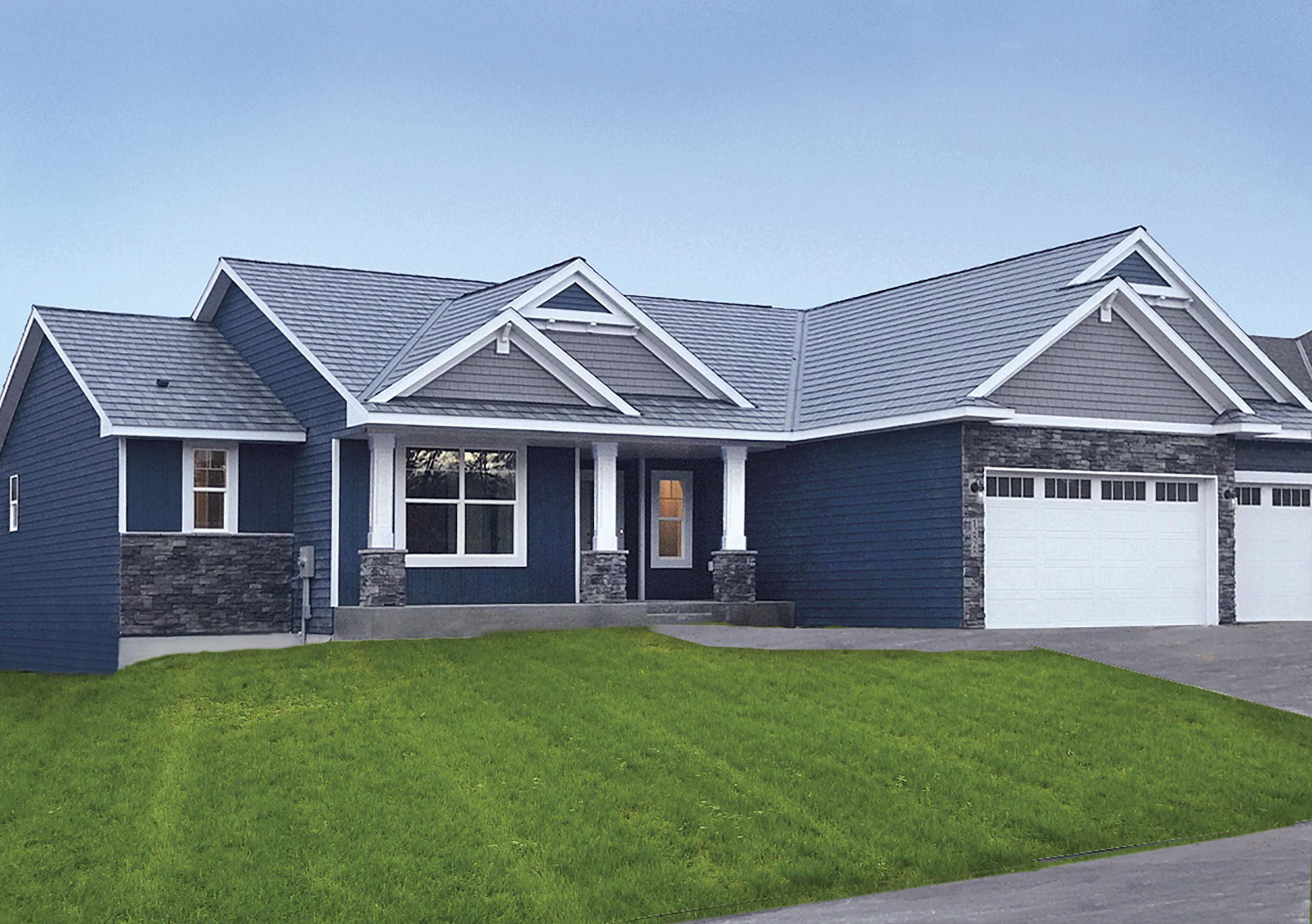 EDCO's blue vertical siding finish on a single family home in Elk River, MN