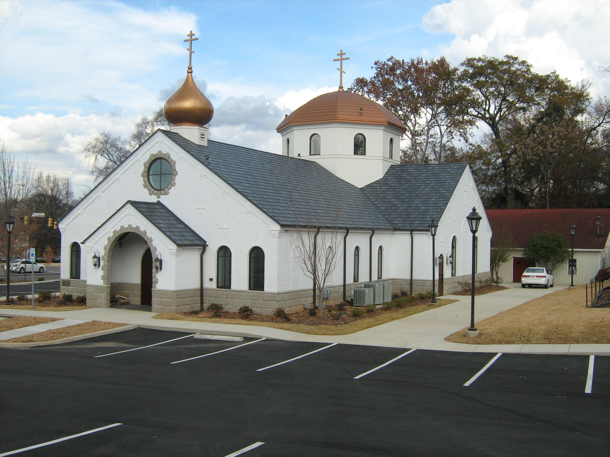 The Orthodox Church in Birmingham, Alabama selected EDCO's Arrowline roofing in both both Slate and Shake panels to give it a distinctive look that meets the existing architecture of the structure.
