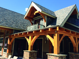 Located in the mountains of Montana, this home showcases the beauty of EDCO's steel Arrowline Slate Roofing in T-Tone Blend