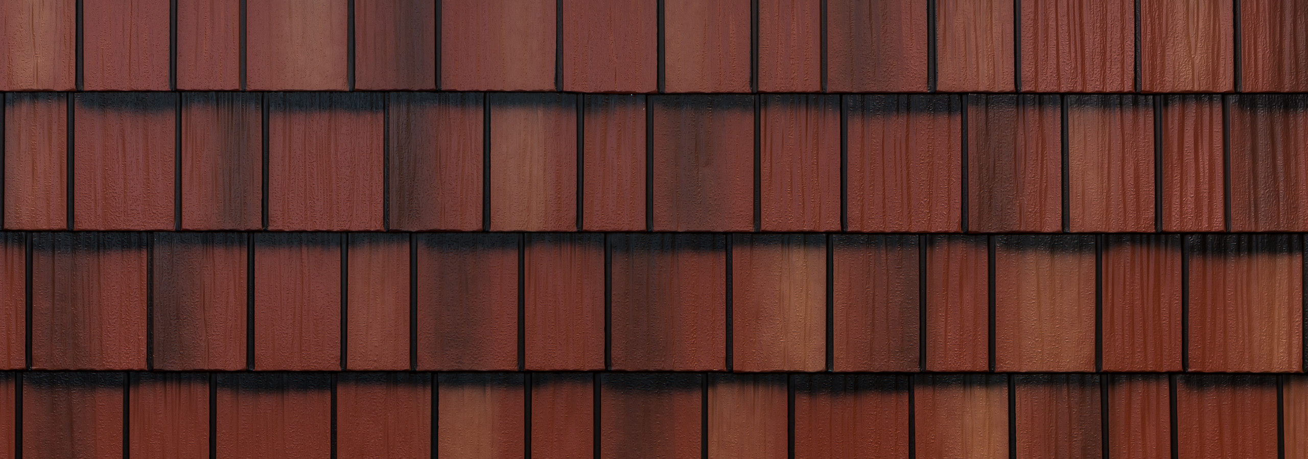 Classic red steel shake roofing