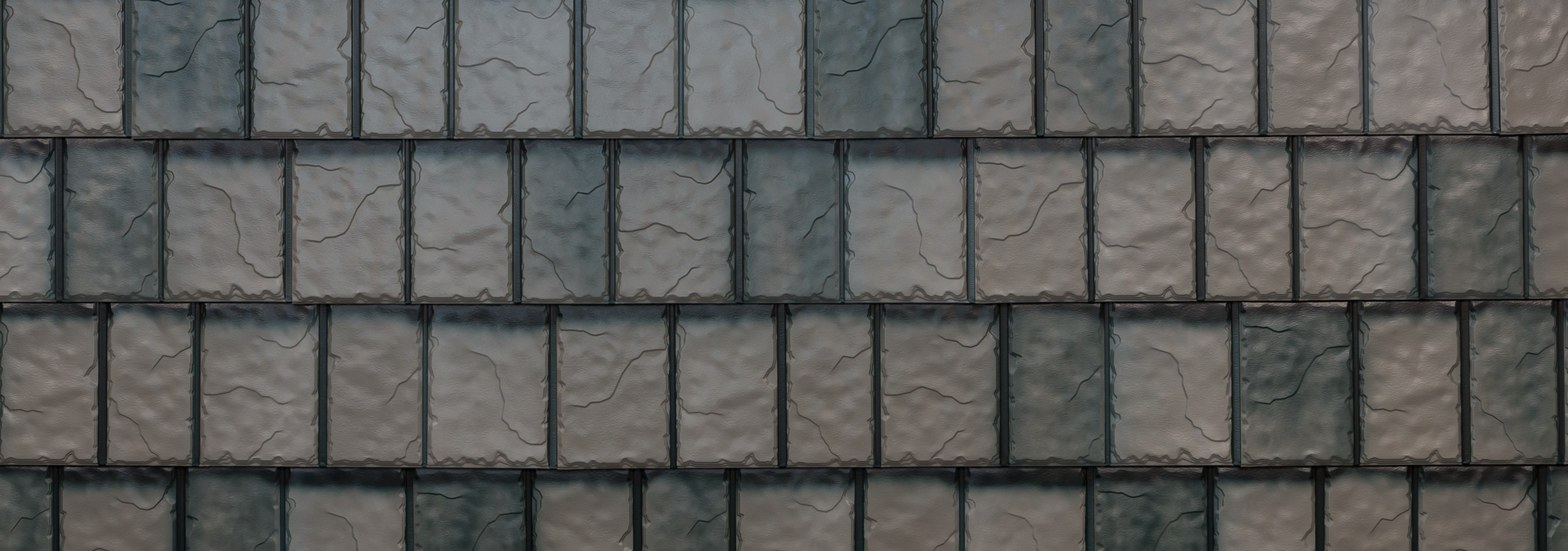 Charcoal gray/grey steel slate roofing