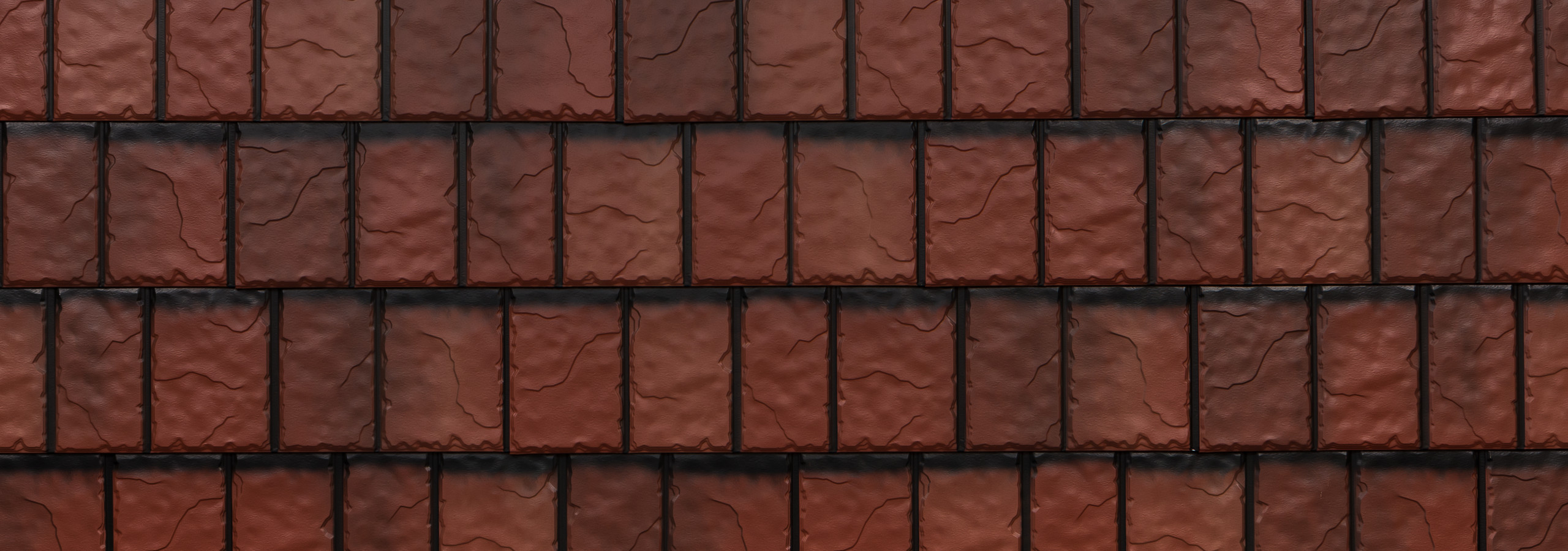 Classic red steel slate roofing